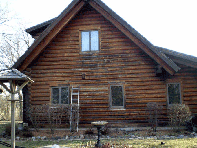 The black on the logs shows the start of wood mold, which can lead to wood rot.
