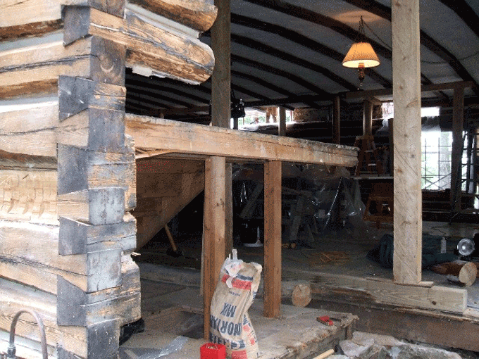 This was an extreme case where an entire wall needed replacing. Edmunds & Company can handle the most complex log repair jobs.