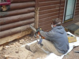 Log Cabin Restoration – Water management is very important