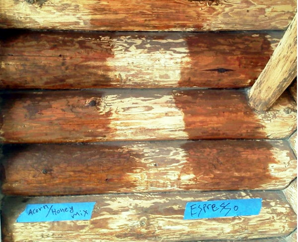 wood logs with two different stripes of stain across them, each labeled.