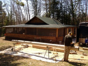Prepping a cedar log for use in a log home