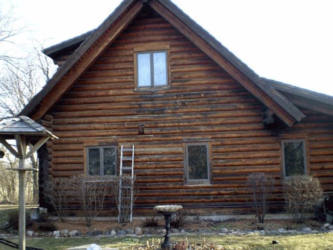 Log Home Rot Repair Replacing Half Logs Hampshire