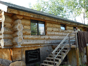 A log home in need of a cleaning