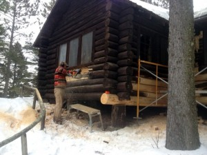 Restoring historic log building