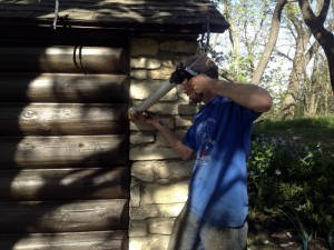 caulking log joints