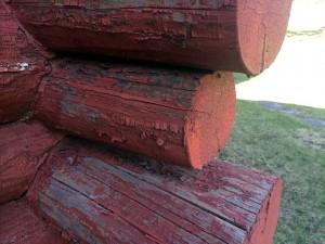 Painted logs pealing