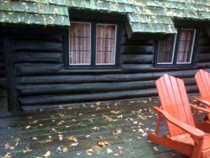 Deck along log wall