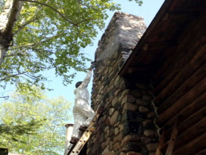 Sealing the rocks in the chimney