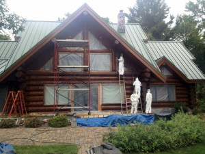 log home prep for blasting