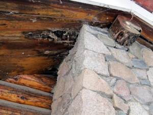 Classic example of rot along a stone chimney