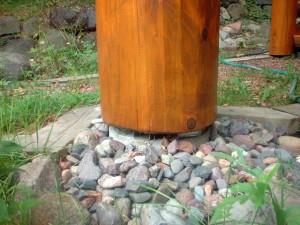 Spacers under log posts