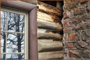 Chimney log rot needing repair