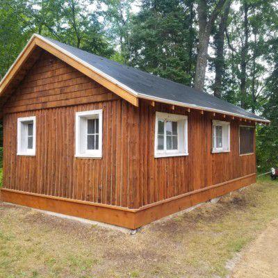 Finished vertical log exterior