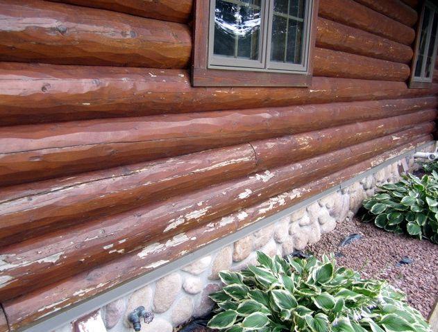 Peeling log stain