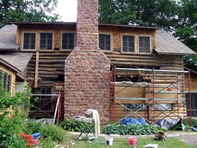 Replacing rotten logs and chinking