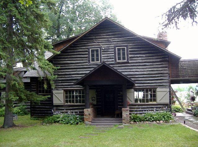 Worn down log home exterior