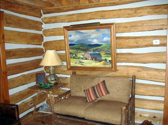 Historic charm of restored interior logs