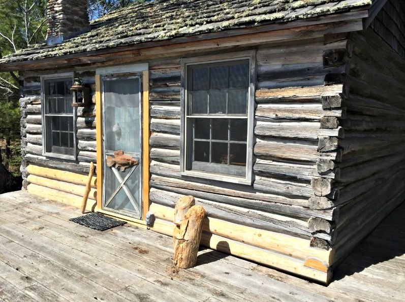 Classic log cabin with replacement logs
