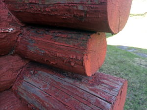 red painted logs